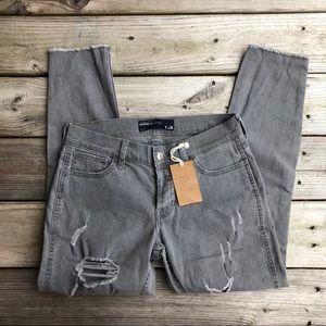 Grey Hollister Ripped Ultra Lowrise Boyfriend Jean